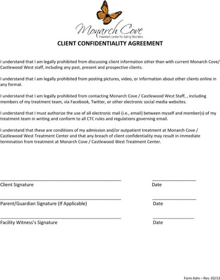 Download Sample Rental Client Confidentiality Agreement For Free