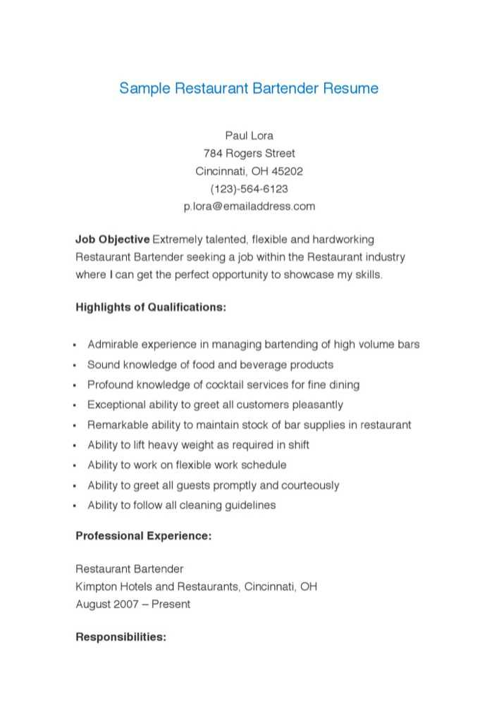 download sample restaurant bartender resume for free