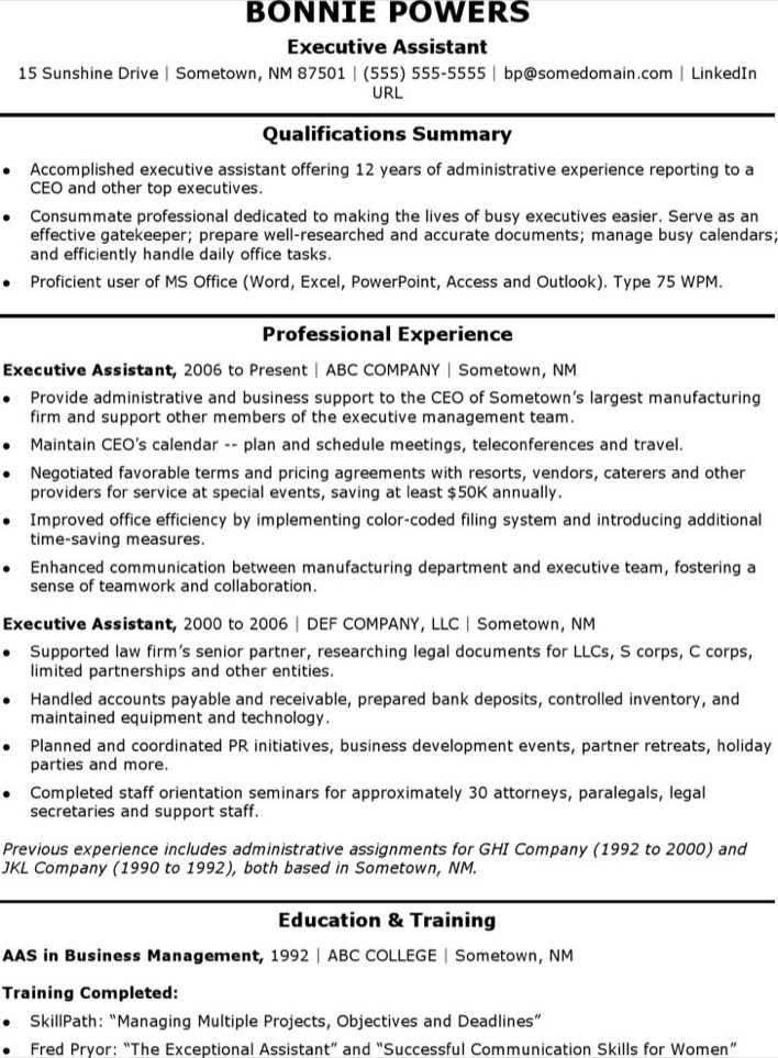 Download Sample Resume Executive Assistant For Free Tidytemplates