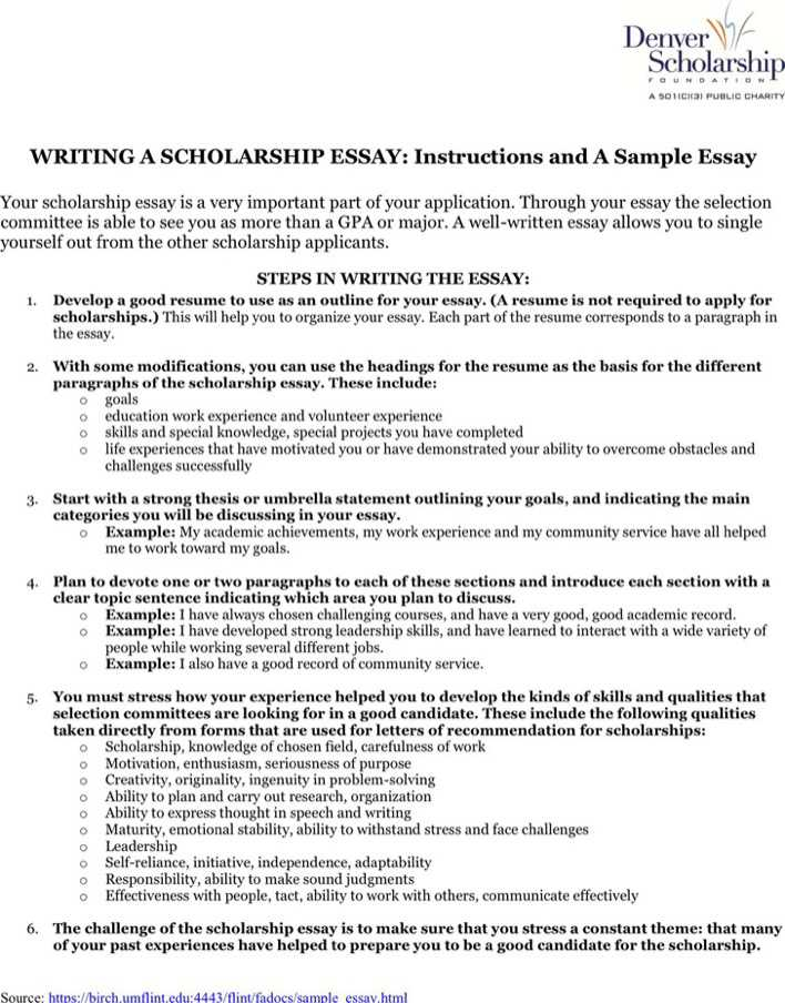 Scholarship Essay Examples About Career Goals with Writing Tips : Current School News