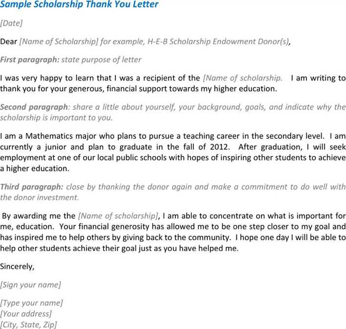 Download Sample Scholarship Thank You Letter For Free Tidytemplates