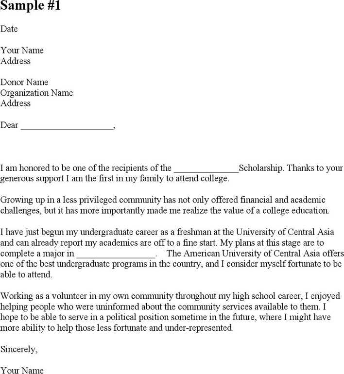 Download Sample Scholarship Thank You Letters For Free Page 2