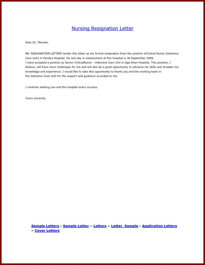 Download Sample School Nurse Resignation Letter For Free Tidytemplates
