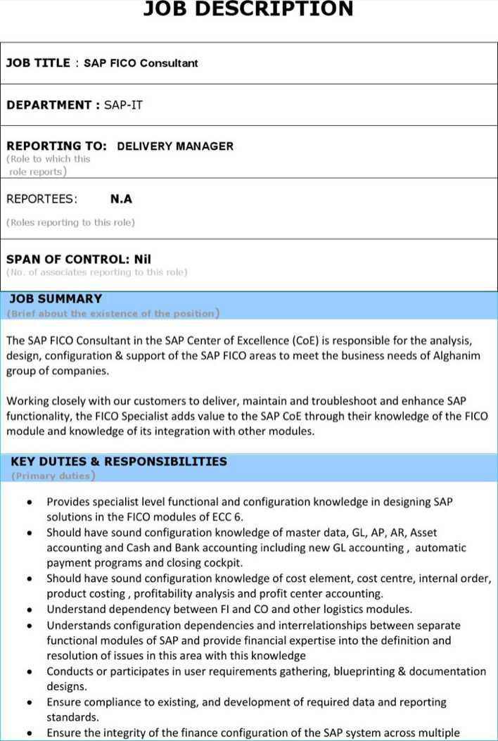 Download Sap Fi Module Resume Format Template for Free