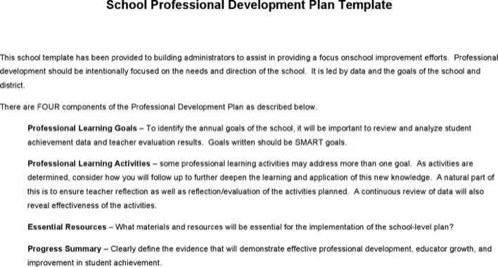 Download School Professional Development Plan Template For Free