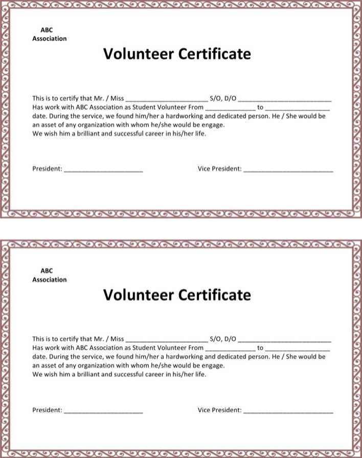 Download School Volunteer Certificate Template For Free Tidytemplates