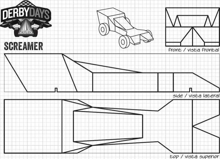 graphic regarding Car Template Printable named Down load Screamer Derby Times Motor vehicle Template PDF Printable for