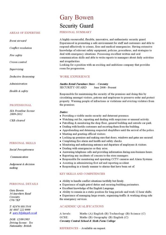 Download security guard cv template for free tidytemplates for Cv template for security guard