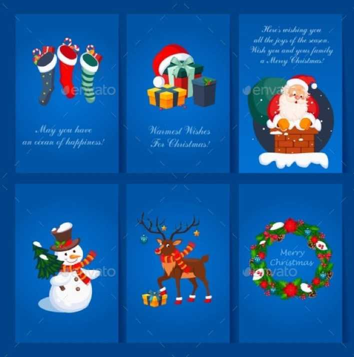 Set Of Christmas And New Year Greeting Card Template EPS Download Page 1