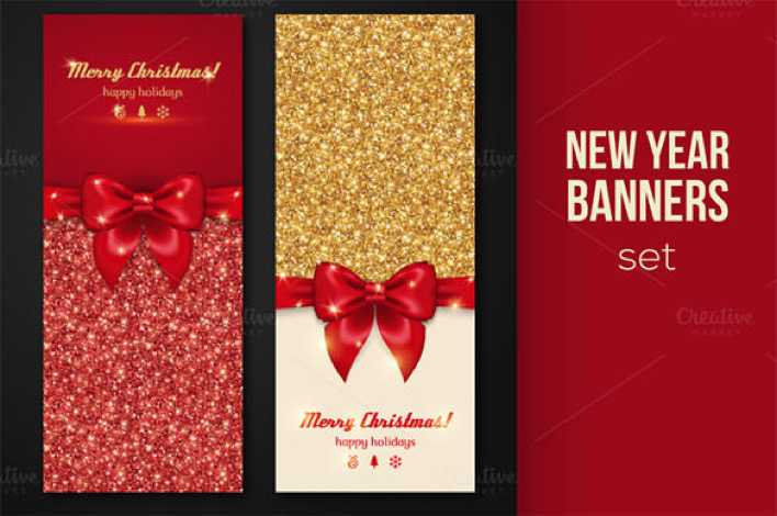 Shiny New Year Banners Greeting Template EPS Download Page 1