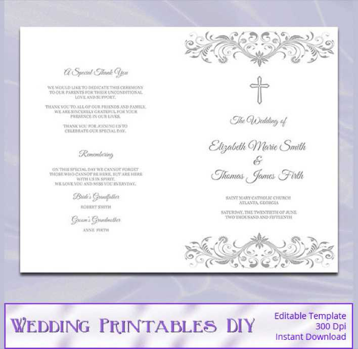 Silver Gray Catholic Wedding Program Template Page 1