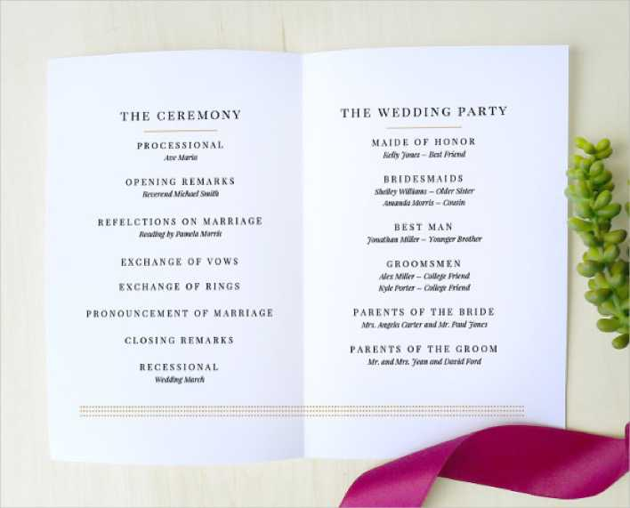 Simple & Clear Wedding Program Template Download Page 1