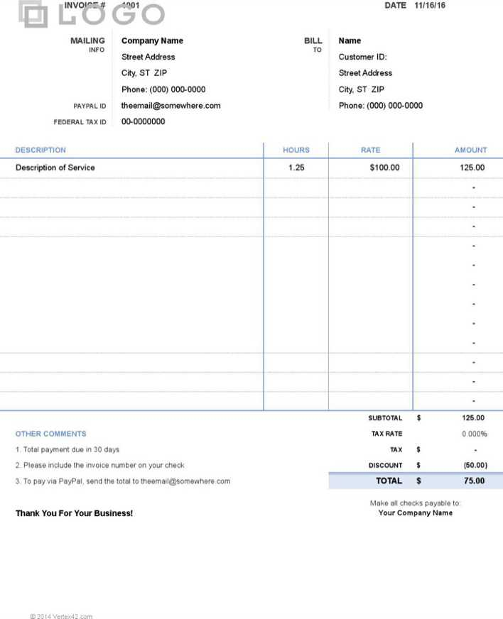download simple invoice hours and rate for free