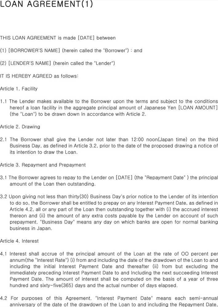 Loan Agreement Template Page 1