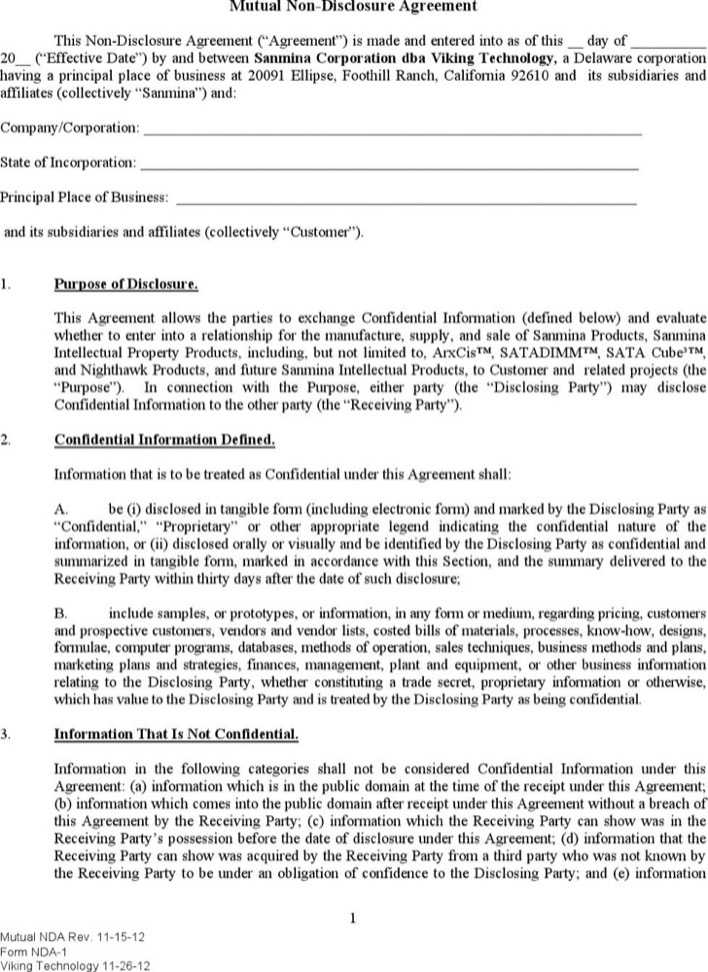 Download Simple Mutual Non Disclosure Agreement Pdf For Free