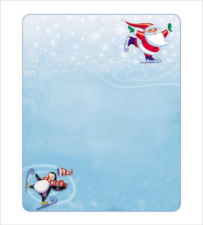 Skating Santa Blank Christmas Stationery Editable Page 1