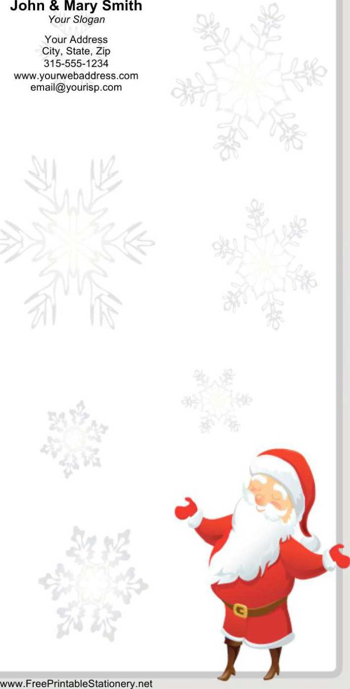 Smiling Santa Gray Border Stationery Design Word Format Page 1