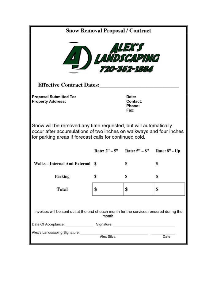 Download Snow Plow Contract Template PDF For Free