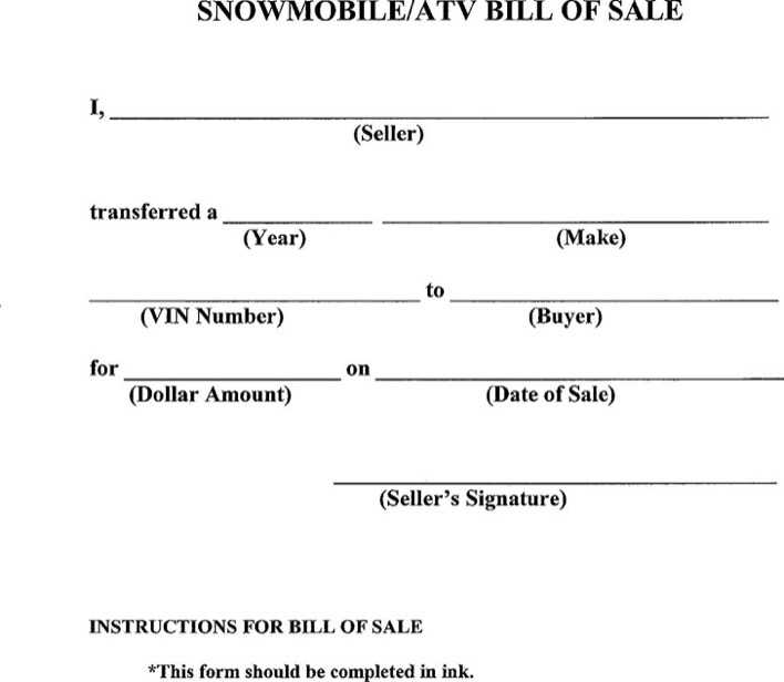 Download Snowmobile Atv Bill Of Sale For Free Tidytemplates
