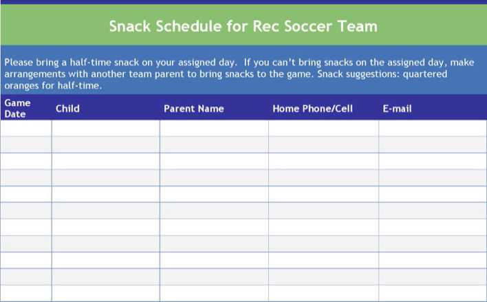 download soccer snack schedule template for free tidytemplates