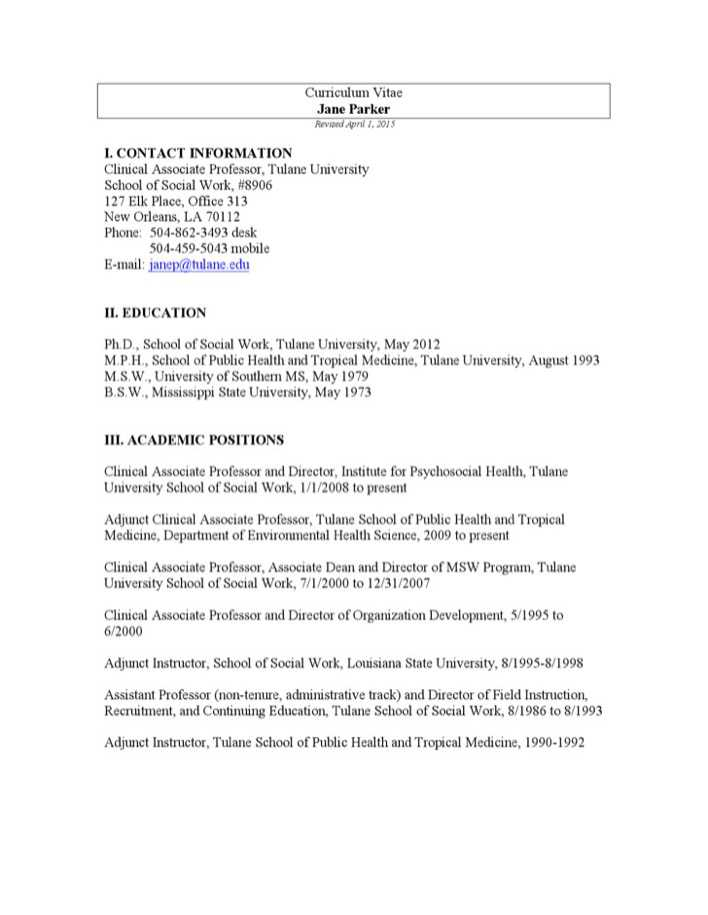 Download Social Work CV Example For Free