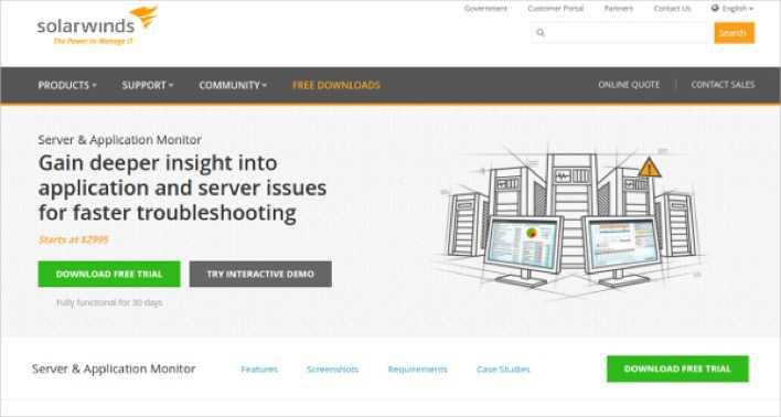Download SolarWinds Server & Application Performance