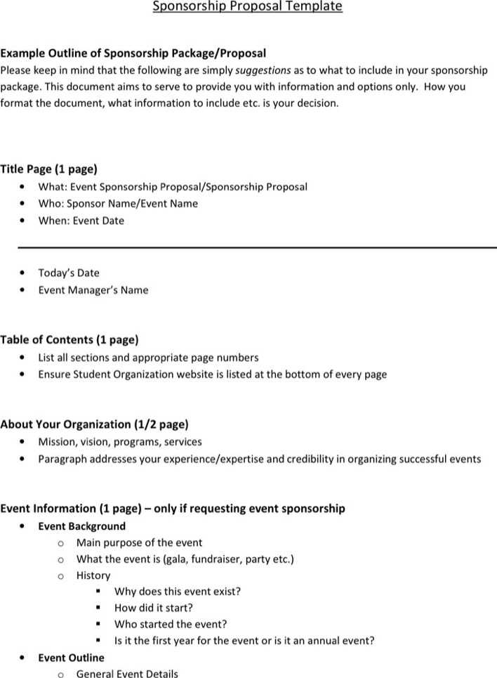 sponsorship proposal template for events