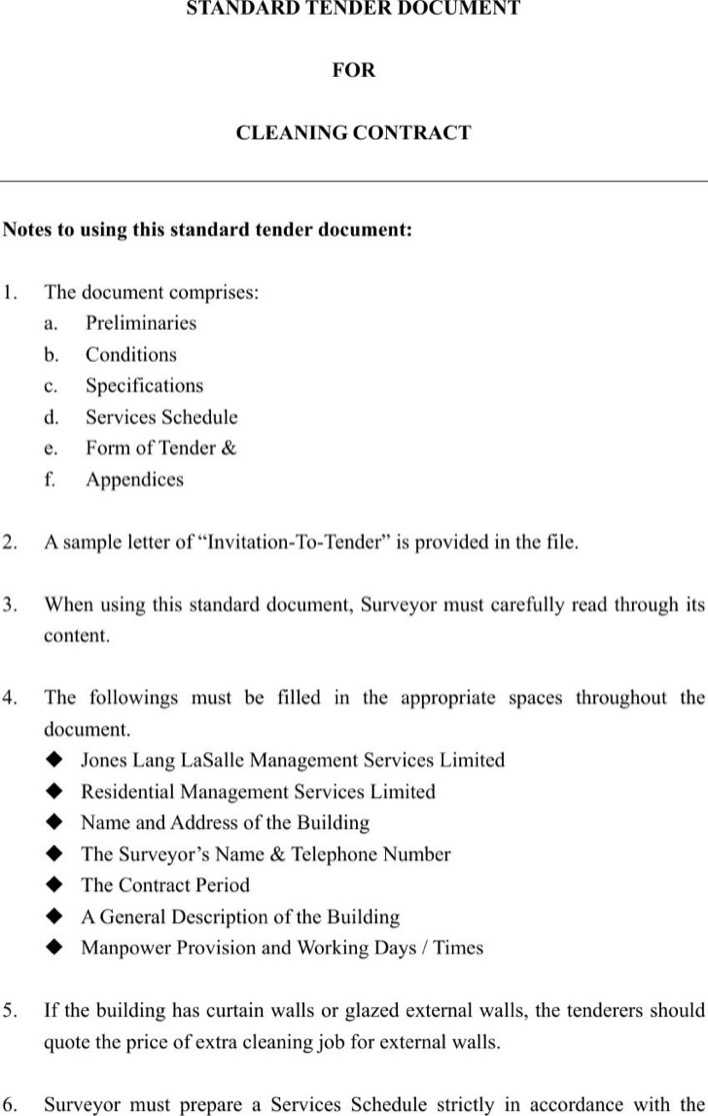 Download Standard Tender Document For Cleaning Contract Free