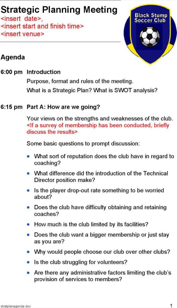 download strategic planning meeting agenda sample for free