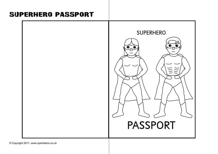 Download Superhero Passport Writing Frame Printable Template ...