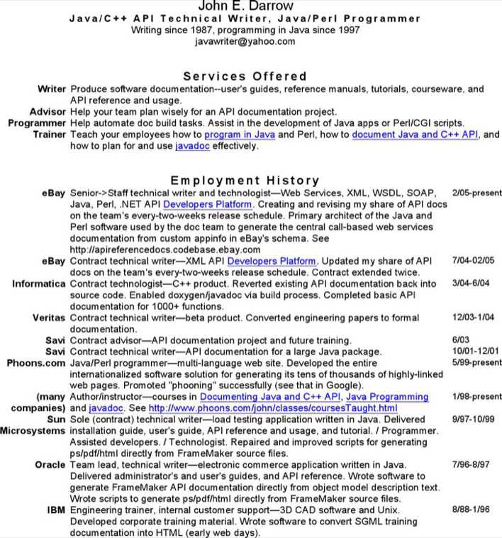 download technical writer resume for free