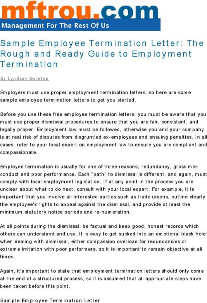 Employee Termination Guide | Download Termination Letter Sample To Employer Pdf Format For Free