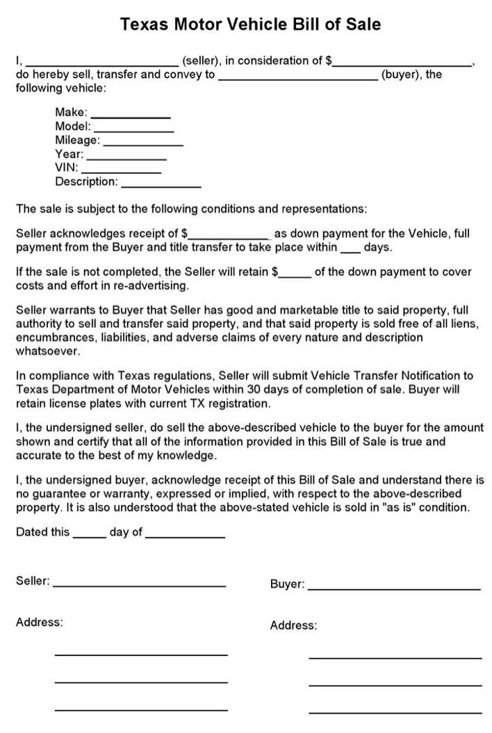 Download Texas Motor Vehicle Bill Of Sale Form For Free
