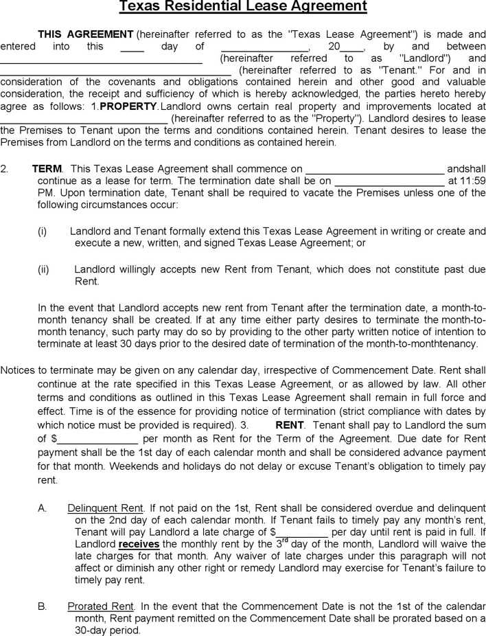 Download Texas Residential Lease Agreement For Free