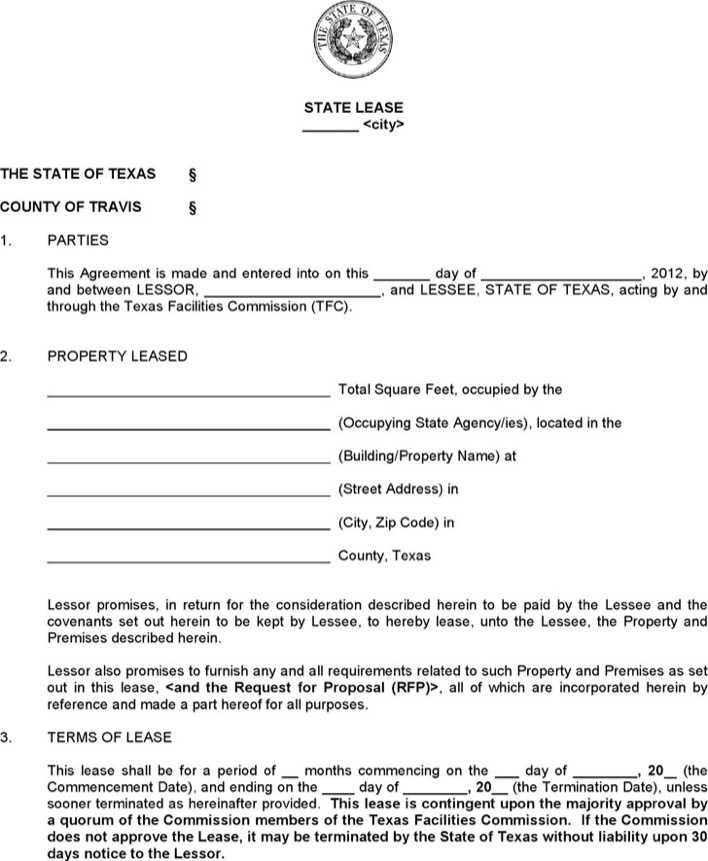 Download Texas Standard State Lease Contract Form For Free