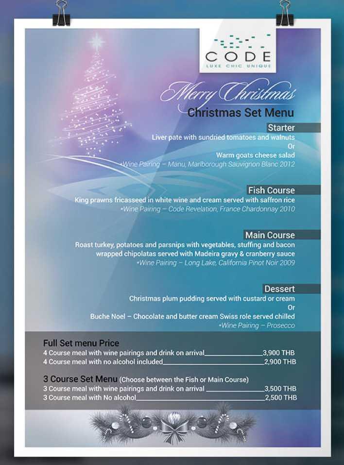 Thailand Christmas Set Menu Poster Design Download Page 1