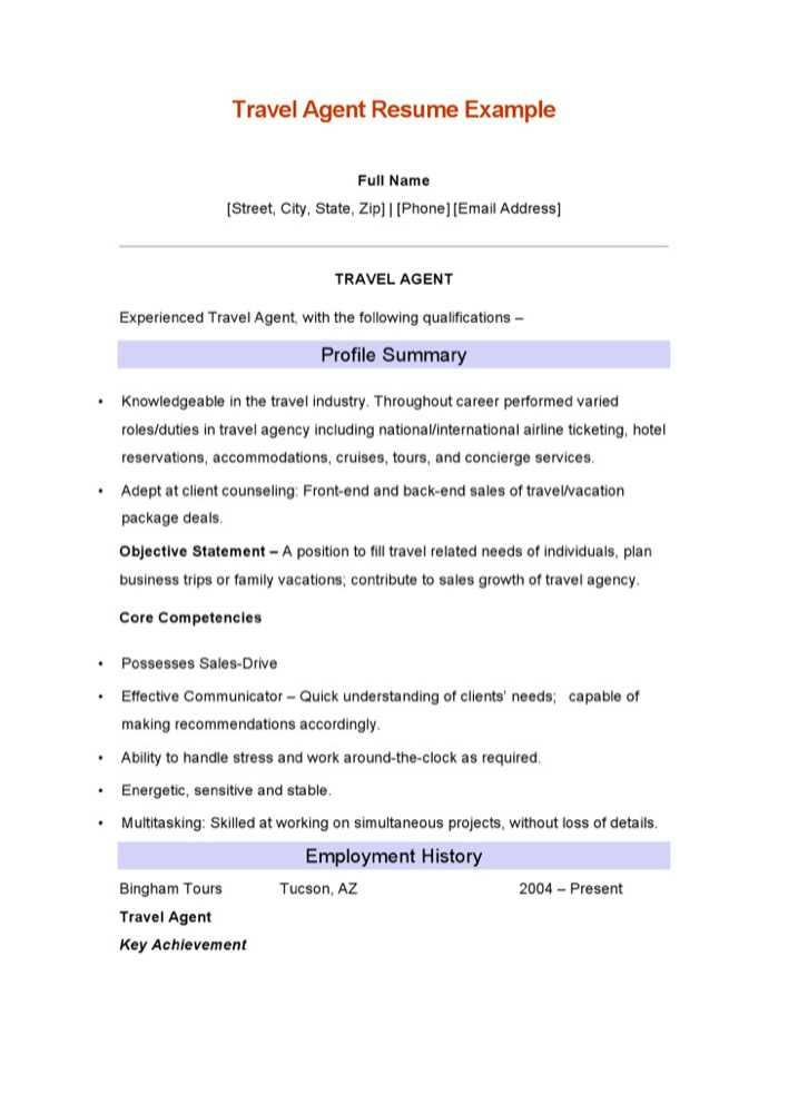 Travel Agent Resume Example Page 1