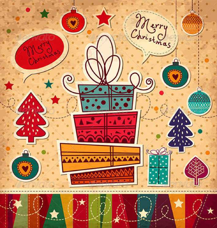 Vector Christmas Card With Gifts EPS Format Page 1
