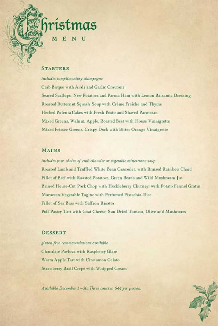 Victorian Restaurant Christmas Menu Template Page 1
