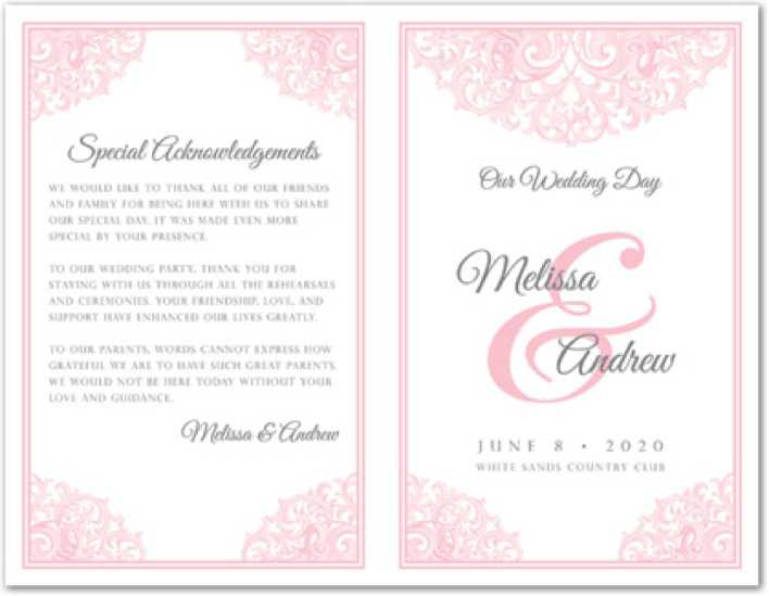 Victorian Revival Pink Wedding Program Template Page 1