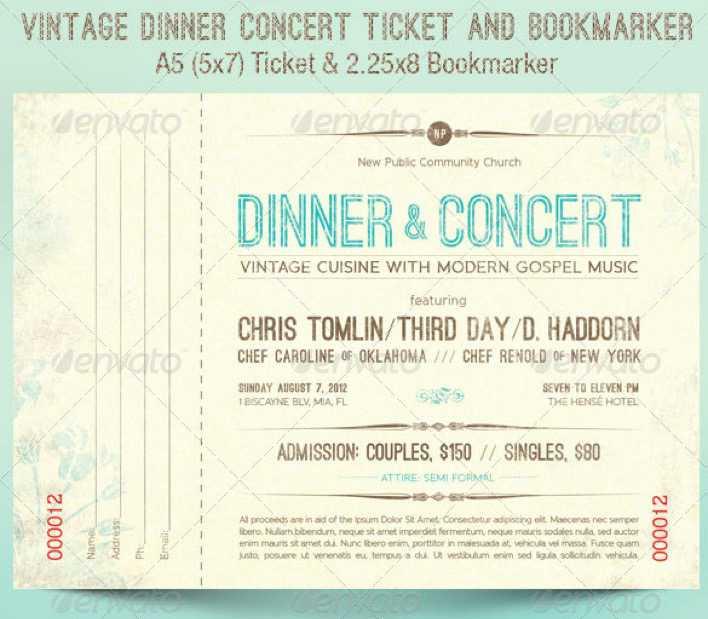 Vintage Dinner Concert Ticket Template Page 1
