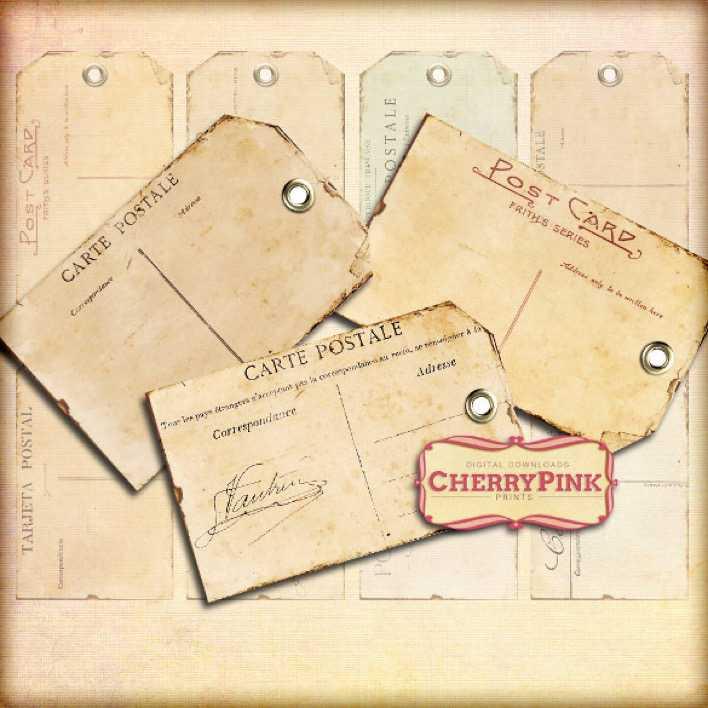 Vintage Poatcard Gift Tag Printable Template Page 1