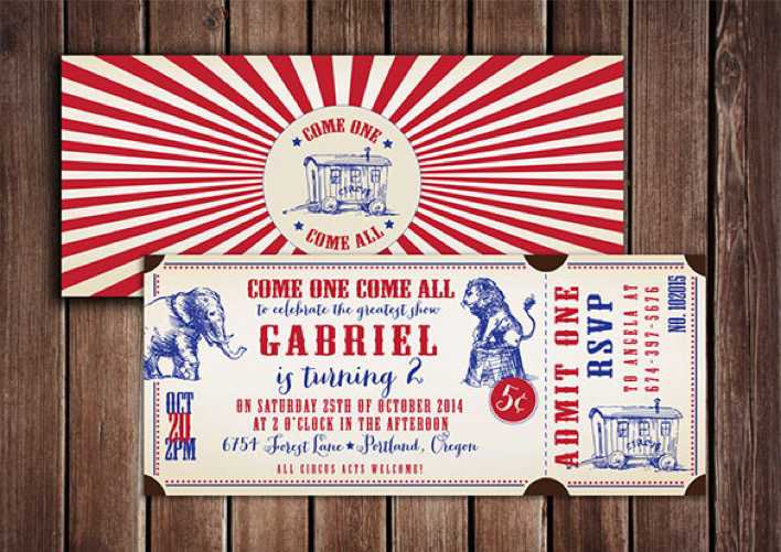 Vintage Style Circus Ticket Design Page 1