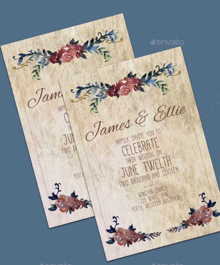 Vintage Wedding Invitation Template For Download Page 1