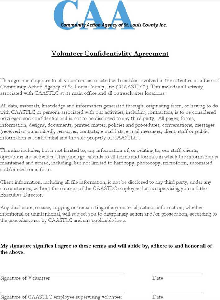 Download Volunteer Confidentiality Agreement Template For Free