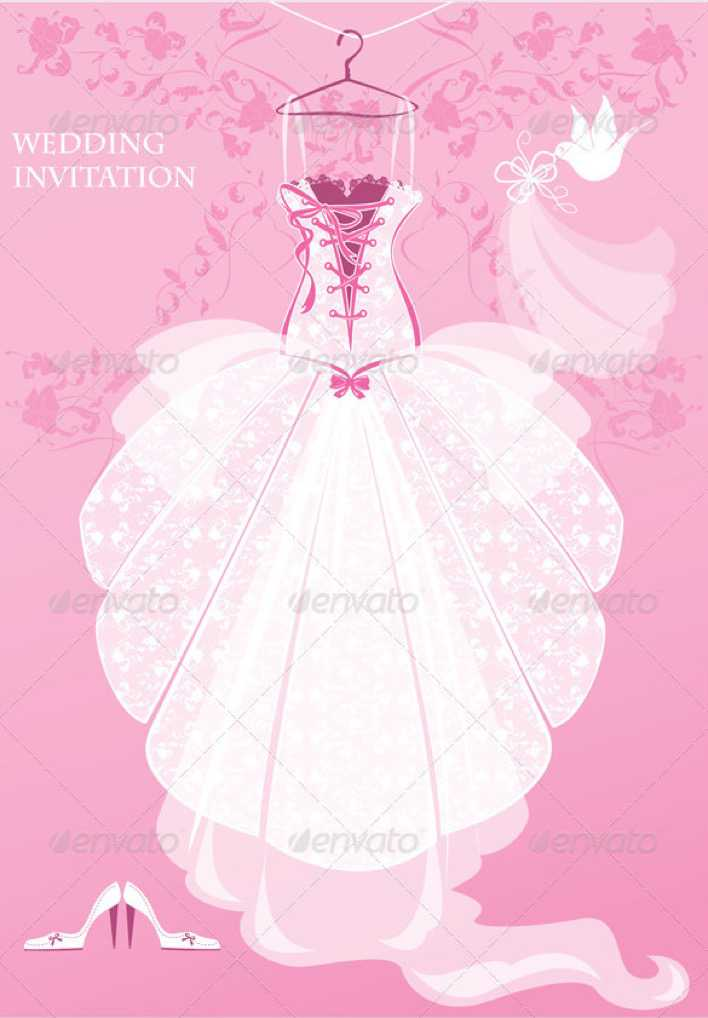 Wedding Dress Invitation Template Pink Background PSD Page 1