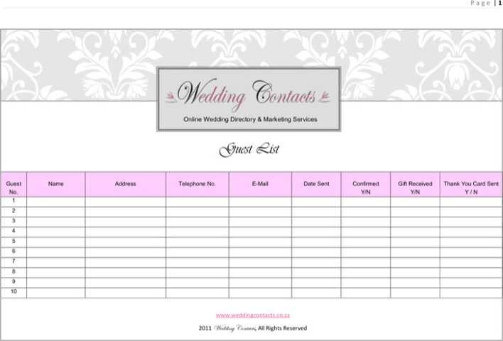 download wedding guest list template 2 for free tidytemplates