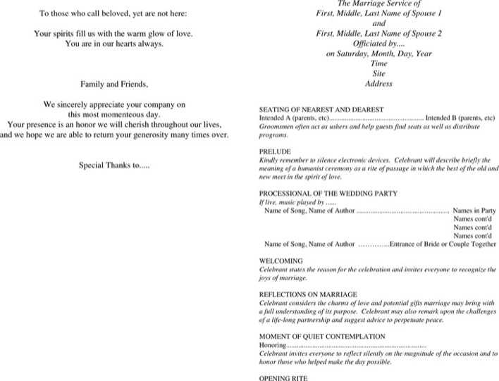 Download Wedding Program Template 3 for Free - TidyTemplates