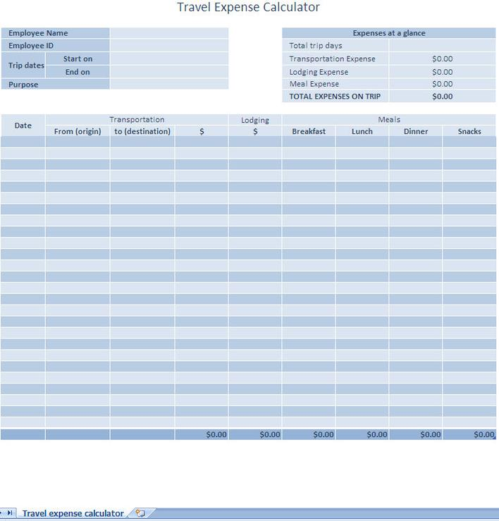 weekly expense report template free