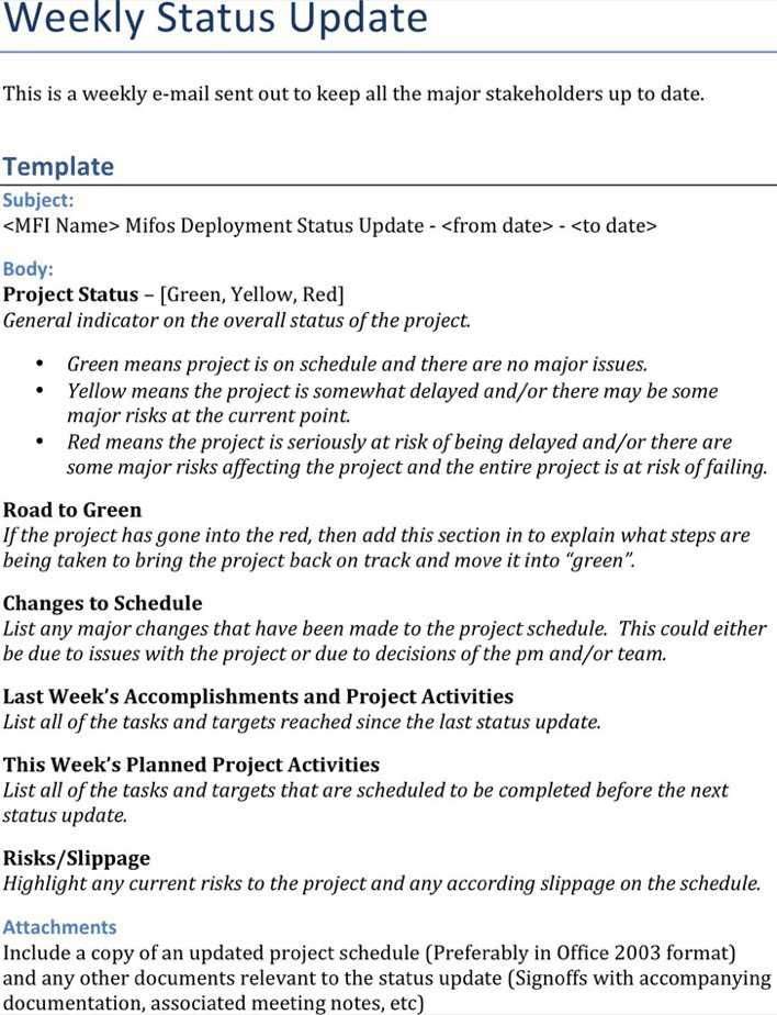 weekly update report template